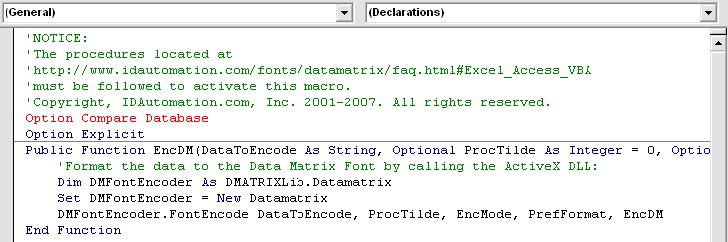 Expand the Modules folder and double-click the IDAutomation_DataMatrix_Macro to see the code