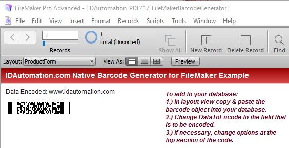 Windows 7 PDF417 Filemaker Barcode Generator 16.12 full