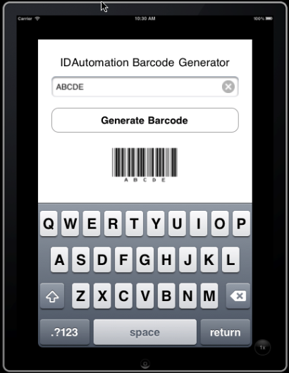 iPhone screen with barcode
