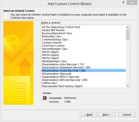 Select the ActiveX Control