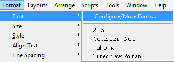 Add the IDAutomation font to the default menu.