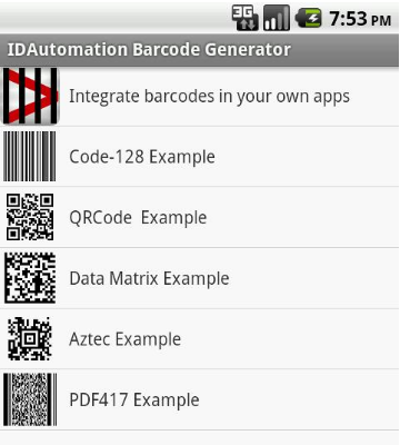 Andriod Barcode Font Encoder App