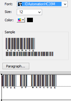 Apply the barcode font