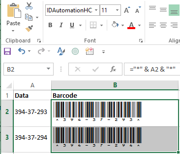 Select The Data To Encode and Then The Appropriate Barcode Font