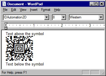 Paste the text into the application to create the Aztec symbol