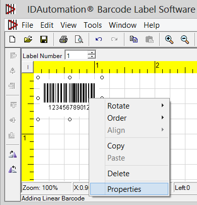 Adjusting properties of the barcode objects