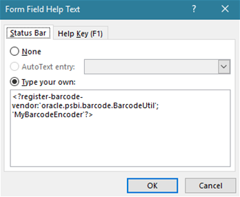 Register IDAutomation barcode in Form Field