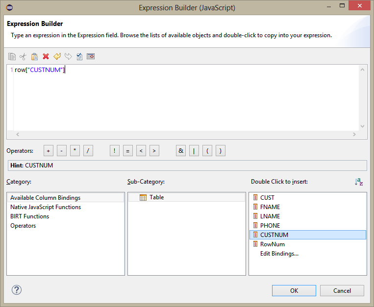 Expression Builder window