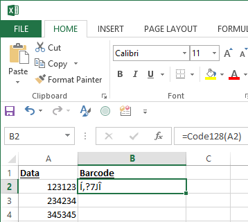 Entering Formulas into Excel Helps to Correctly Format a Barcode.