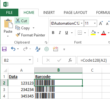 Highlight the Full Column of Data-to-Encode and Select the IDAutomationC128S Font from the Drop Down List.