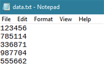 Create the text file of data to encode.