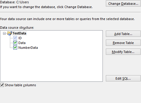 Add in table data