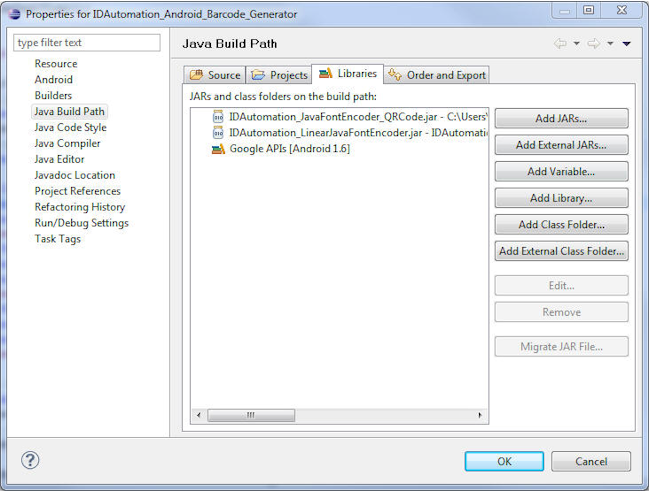Import the Java Font Encoder in the Properties Window