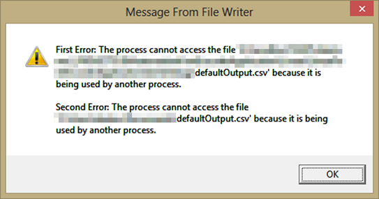 Pop up Message from File Writer