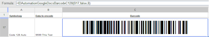 Set the barcode function in the formula bar