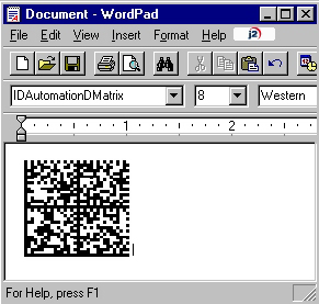 Paste The Data Matrix Font into Wordpad or Similar Application