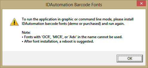 Compatible with IDAutomation Barcode Fonts only.