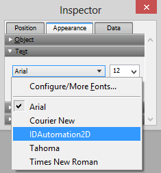 Select a font using the Inspector window