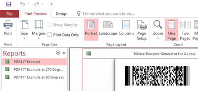 PDF417 Native Access Barcode Generator full screenshot