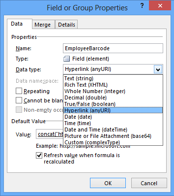 Select Data Type