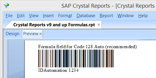 Barcodes in The Report Preview