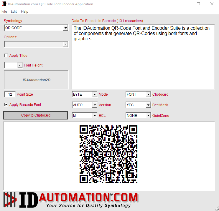 Generate QR-Code for easy copy and paste into applications.