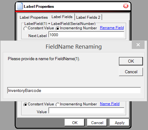 Creating Constants and Serial Number Labels