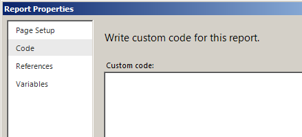 SSRS report custom code area