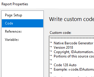 The Custom Code area of the Report Properties