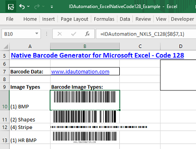 Code 128 barcode image in Microsoft Excel.
