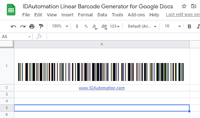 GS1 Code 128 barcode image in Google Sheets.