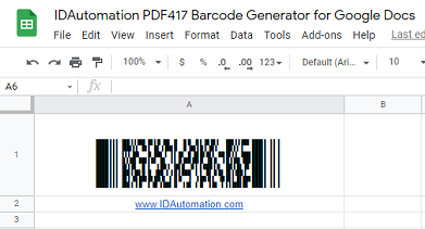 PDF417 barcode image in Google Sheets.
