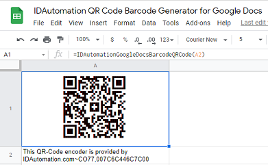 QR Code barcode image in Google Sheets.