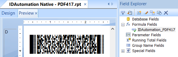 PDF417 Barcode in Crystal Reports