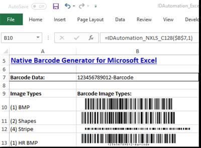 2D Excel Native Barcode Generator full screenshot