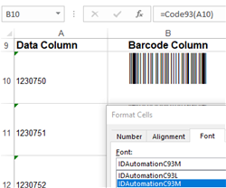 Code 93 Barcode Fonts