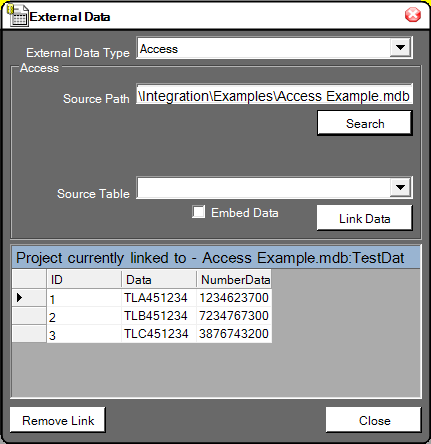 The External Data Tab Shows a Portion of Linked Data