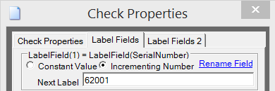 The Label Properties Tab Allows Constant Value or Incrementing NumberFields