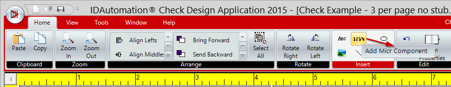Toolbar Icons Allow Adding Text, MICR Character and Graphic Objects to the Design Area.