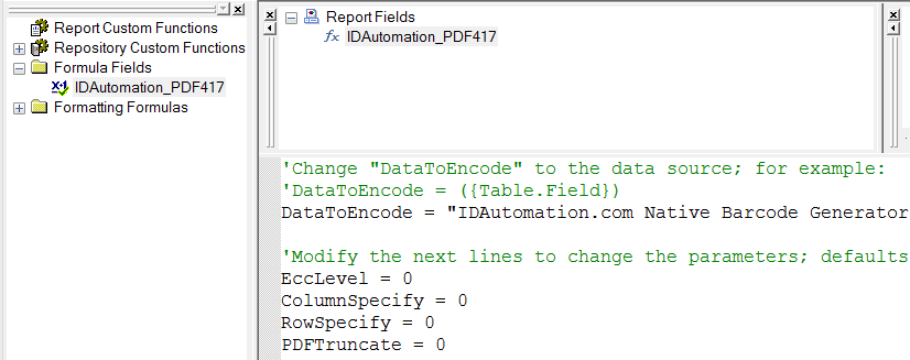 Source formula to change options in PDF417.