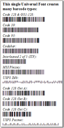 Universal Barcode Font Package