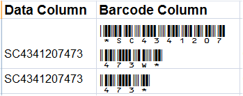 Barcode Sizing Issues May Occur in Excel if the Barcode is Truncated