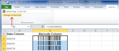 Highlight All Data Cells in a Column and Click Change To Barcode