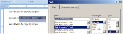 Generating a Barcode From a Font in Microsoft Mail-Merge