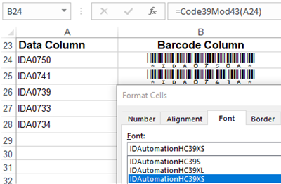 Code 39 Barcode Font Package