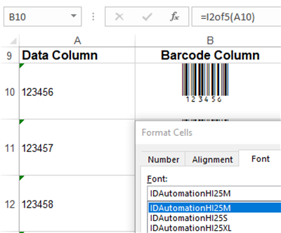 Interleaved 2 of 5 (ITF) Barcode Font Package