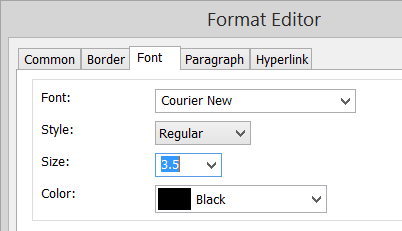 Setting the font size in the format editor.